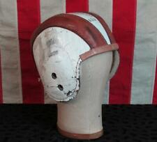 Vintage 1940s Winnwell Leather Football Helmet 430 White/Red Stripes Antique