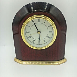 """Small Wood Mantle Or Table Alarm Clock Quartz Made In China Works 6.5"""" H x 6"""" L"""