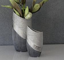 Vase Bridgetown Keramik grau-silber 30 cm (G43211 Blumenvase Dekovase Innendeko