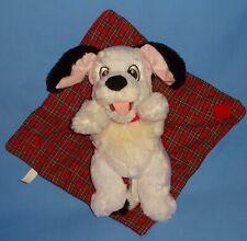 "Disney plush Babies 101 Dalmatians Puppy Dog 10""-Red Plaid Security Blanket LOT"