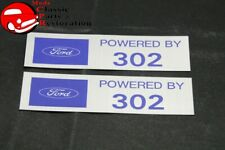 "Ford ""Powered By Ford 302"" Valve Cover Decals Pair Aftermarket w/Ford License"