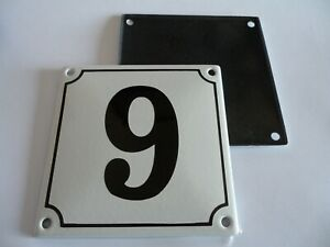 Old German White Enamel Porcelain Metal House Door Number Street Sign / Plaque 9