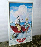 "COCA COLA 50TH ANNIVERSARY TIN AD SIGN COKE 1986 ENJOYING SODA POP 14"" x 9"""