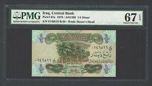 Iraq- 1/4 Dinar (1979/AH1399) P67a  Uncirculated Graded 67