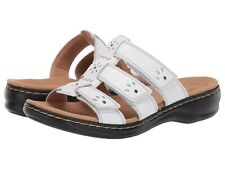 3a3e0cdef93 Clarks LEISA SPRING Womens White Leather 34497 Slide Comfort Sandals