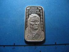 CHIEF JOSEPH NEZ PERCE TRIBE INDIAN 1975 VINTAGE 999 SILVER MINT BAR COIN RARE#B