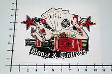 Booze & tatuajes Pegatina Sticker cards poker punk competividad Up Girls decal nos-0031