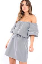 Gingham Bardot With Ruffled Frill Sleeves Belted Short Mini Dress UK 8-14