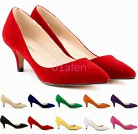 Womens Ladies Kitten Heel Chic Slip on Classic Loafer Pumps Office Shoes Plus SZ