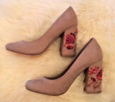 Brand New Restricted Beige Floral Heals Size 7 1/2