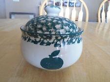 Tienshan Folk Craft APPLE Creamer & Sugar Bowl & Lid Green Sponge