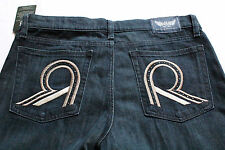 ROCK & REPUBLIC Womans STELLA EMBROIDERED STUDDED LOGO BLUE JEANS  NWT 30 x 34