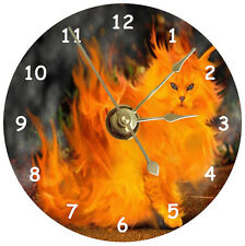 NEW Cool Flaming Cat CD Clock
