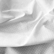WHITE ON WHITE POLKA DOT FABRIC 3mm SPOT 100% QUALITY COTTON SPOTTY X HALF METRE