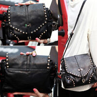 Women's Retro PU Leather Handbag Rivet Shoulder Bag Satchel Hobo Tote Messenger