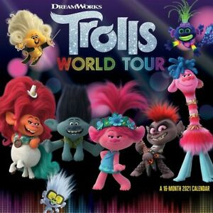 "DateWorks Trolls World Tour 2021 Wall Calendar 12"" x 12"" w"