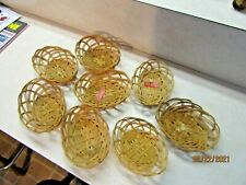 New listing 8 Wicker/Rattan/Straw/Bambo o Small Oval Baskets