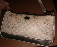 COACH Poppy Stars/C's Coated Canvas Waverly Leather White/Silver Baguette Bag