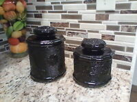 Vintage LOT of 2  Indiana Glass Sandwich Pattern Black Amethyst Canisters W/Lid