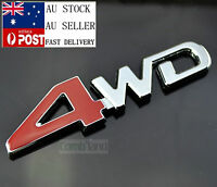 AU Newest Red 4WD 3D Car Truck Badge Emblem Sticker Decal Metal Chrome 4X4 13cm