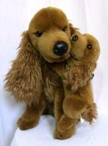 """fabulous big 21"""" plush  Mummy Spaniel & Puppy, cute, giant, cuddly dog, brown."""