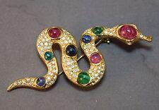 "FABULOUS ""Gem"" & Rhinestone Embedded Figural Snake Christian Dior Vintage Brooch"