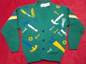 Vintage Carters Boys Size 4 Green Tools Hammer Saw Graphic Cardigan Sweater