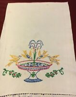 """Vintage White Cotton Embroidered Hand Towel - 23"""" X 17"""""""
