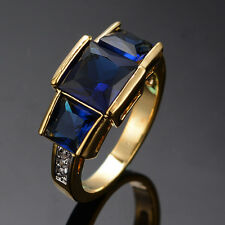 Sz 6-10 Royal Blue Sapphire Rings Crystal 10KT Yellow Gold Filled Women's/Men's
