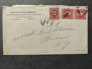 MOWEN BROTHERS WATCHMAKERS, JEWELERS, OPTICIANS FRANKLIN PA Postal History Cover