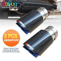 Akrapovic Universal 63-89mm Auto Carbon Fiber Auspuff Endrohr 2 Stk