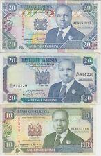 Kenya Banknote P24-25-31, 10-20 SH 1988-94 & 20 SH 1993-94, VF
