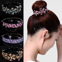 Rhinestone Flower Hair Clip Women Hairpin Babby Pin Bun Wrap Hair Accessories
