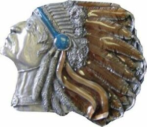 INDIAN CHIEF BUST HEAD Belt Buckle COLOR Eagle feathers mis013
