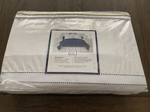 Crown & Ivy White Ribbon w/Blue Stitch Bedskirt Queen/King Belk Exclusive NEW