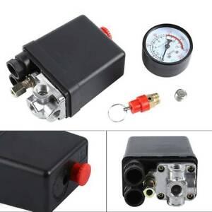 Safety Valve Set + Air Compressor Pressure Switch Single Phase + Pressure Gauge