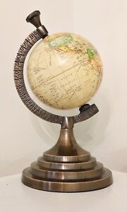 10.5 Inch Mini Sepia World Map Globe with Round Brass Style Base
