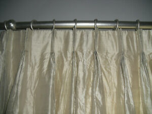 PALE GOLD DUPION SILK LINED TRIPLE PLEAT PAIR CURTAINS
