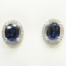 18CT WHITE GOLD OVAL BLUE SAPPHIRE & ROUND BRILLIANT DIAMOND HALO STUD EARRINGS