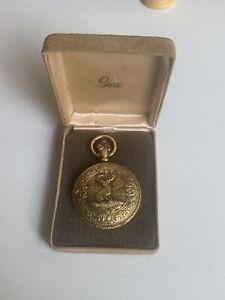 Pocket Watch Vtg Sears & Roebuck Hunter ElK Brass with original box/case (2K)