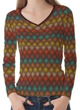 Color Dot Geometric Women Lady V Neckline Long Sleeve Tee T-shirt b23 acq00495