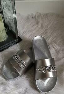 Ladies Womens Flatform Diamante Sliders Slip On Mule Sandals Slippers Shoes Size