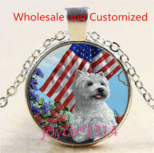 Yorkshire Terrier and Flag Cabochon silver Glass Chain Pendant Necklace #4738