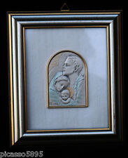 Sterling Silver Catholic Holy Family Joseph Mary Jesus High Relief Cast Italy