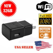 1080P WIFI USB SPY Camera Hidden Wall Phone Charger AC Adapter Plug DVR 32GB VIP