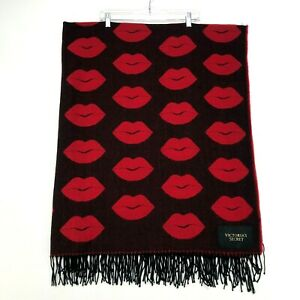 Victoria Secret Lips Blanket VS 50 x 60 Throw Blanket Red Black Fringed Ends