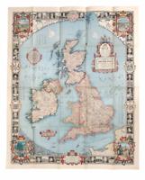 Antique Modern Pilgrim's Map Of THE BRITISH ISLES National Geographic June 1937