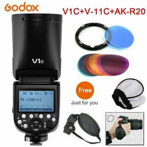 Godox V1-C 2.4G TTL HSS Flash Speedlite + V-11C Color Filters + AK-R20 For Canon