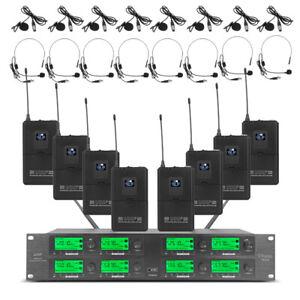 Pro Audio Wireless Microphone System UHF 8 Channel 8 Lavalier Bodypacks Headset