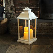Medium White Effect Lantern Battery Operated Indoors by Kingfisher